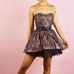 Betsey Johnson Sequin & Lace Strapless Dress